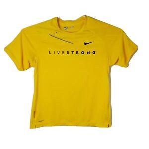 Nike Dri-Fit Bowerman Series Mens Sz Medium Yellow Livestrong Crew Neck T-Shirt