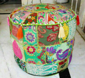 Indian Ethnic Patchwork Cotton Pouffe Cover Handmade Round Ottoman Pouffe Cover