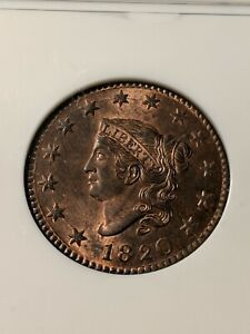 1820 Large Date Copper Coronet Head Large Cent NGC MS-66 Red/Brown... Stunning!!
