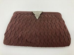 Vintage British Made Brown Evening Handbag Clutch Bag With Diamante Clasp