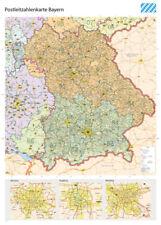 Postleitzahlenkarte Bayern XL 1 400.000 Gerollt 5-stellige PLZ Grenzen Landkarte – 2016