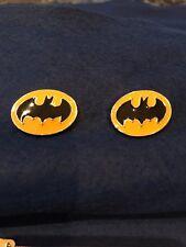 Bat man, cufflinks, cuff links, batman, silver metal, yellow bat signal