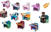 Table Chair Set Desk W Storage Bin Kids Play Activity Homework ASSORTED Cartoon