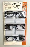 Design Optics by Foster Grant Full Frame Classic Reading Glasses Set of 3+Cases