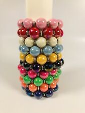Retired Iridescent Bubblegum PEARL BRACELETS Set of 10 Stretch Multi Color QVC