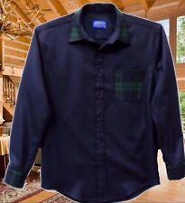 Pendleton Lodge Contrast Shirt Mens Small Virgin Wool Navy Blue / Blackwatch Nwt
