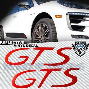 LEFT+RIGHT SIDEBLADE BODY REFLECTIVE VINYL STICKER KIT FOR PORSCHE GTS LOGO RED