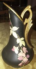Hampshire Pottery  Vase Pitcher Ewer  Arts And Crafts Black Gold Flowers