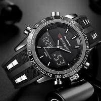Analog Digital Herren Armband Uhr Schwarz Rot Chronograph Dualtimer