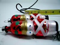"""Two Red Glass Christmas Ornament Soldiers 3"""" Hand Painted"""