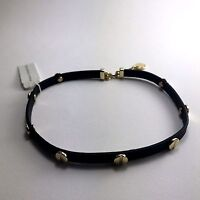 100% Authentic French Connection Beautiful Leather Studded Choker Necklace