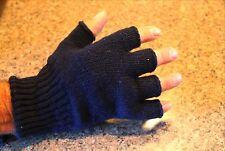 Wool Fingerless Gloves Man Woman Navy Blue Green Black Gray Size -Sm Med LG USA