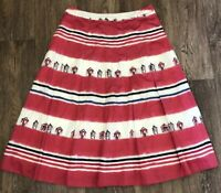 Laura Ashley Lined Nautical Beach Hut Cotton Skirt Size 8 109% Cotton Lined