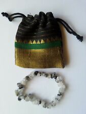 089 Black Rutile Quartz Gemstone chip bead stretch bracelet free crystal pouch