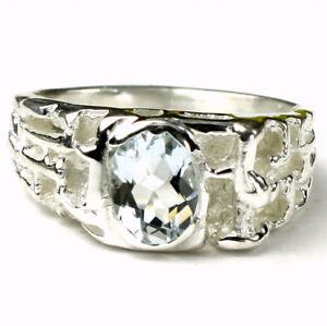 AQUAMARINE Sterling Silver Men's Ring, Handmade • SR197