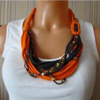 Handmade Orange Grey Boho Hippy Alternative Necklace Crafted Birthday Gift Her