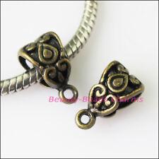 6Pcs Antiqued Bronze Heart Bail Bead Fit Bracelet Charms Connectors 7.5x13.5mm
