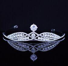 Princess CZ Stone & Austrian Rhinestones Tiara Crown Bridal Prom Party Wed T29