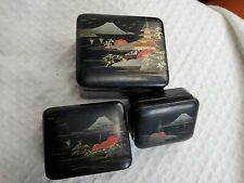 Antique Japanese Nesting Box Set lacquer ware Aizu-nuri MT FUJI hand painted