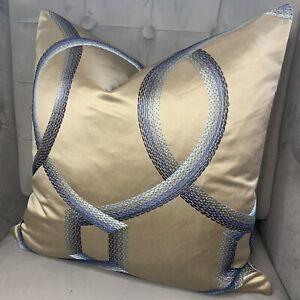 "iLiv Athena Sapphire Fabric & Cushion Cover 18"" , Blue & Beige Embroidered"