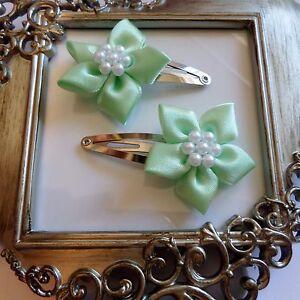 girls hair clips snap clips slides bendies flower hair clip mint green flowers
