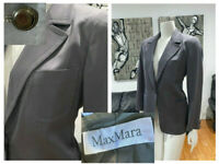 MAX MARA ITALY  GRAY WOOL PATCH POCKETS  STITCHING SUITING BLAZER JACKET 8