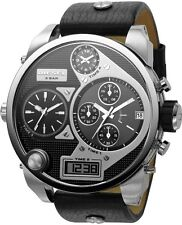 DIEZEL DZ7125 MR DADDY Silver Black Leather Strap Oversized Men Watch