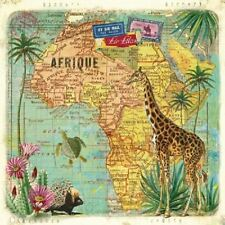 4 x Paper Napkins - Travels to Africa - Ideal for Decoupage / Napkin Art