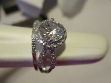 AVON STERLING  Round Halo 2-Pc Engagement Ring & Band Set 3/4 ct Center Size 6
