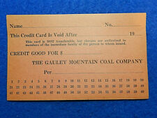 Coal Scrip Unused Credit Card Gauley Mountain Coal Co., Ansted, West Virginia 💎