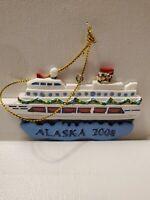 Vintage Resin Cruise Ship Alaska 2008 Christmas Ornament.