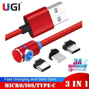 AU 3A Magnetic Charger Cable 180° Rotating Micro USB C 3IN1 For iPhone X Samsung