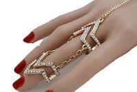 Women Gold Metal Chain Wrist Bracelet Fashion Jewelry Chevron Slave Bling Ring