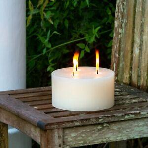 White Outdoor Pillar Candle, X Large Cream Rustic Garden Candle, 20x10cm 3 wicks