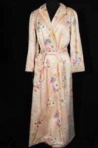 VERY RARE 1940'S PEACH FLORAL RAYON SATIN LONG DRESSING GOWN  SIZE 6-8