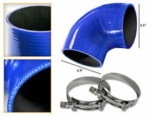 """BLUE Silicone 90 Degree Elbow Coupler Hose 2.5"""" 63 mm + T-Bolt Clamps VW"""