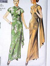 VOGUE 2494 Vintage 40's FLOOR LENGTH EVENING GOWN BACK DRAPE DRESS PATTERN 6-10