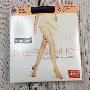 No Nonsense Sheer & Silky Pantyhose C Midnight Black Nylons Sheer Toe Lace Panty