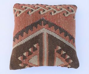 Tribal Kilim Pillowcase 16''x 16'' Bohemian Cushion Case ,Vintage Pillow Cover