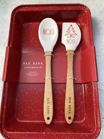 Rae Dunn Holiday Christmas 3 Piece Baking Set NOEL Red Metal Pan Spatula Spoon
