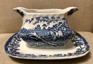 Vintage Myotts Country Life - Staffordshire Ware - Blue Sauce Boat Fixed Stand