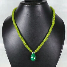5 Strand Top Sparkling Green Emerald Hydrothermal Peridot Necklace Cabochon Bead