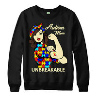 Autism Jumper, Love, Heart, Mom, Unbreakable, Awareness, Adult & Kids Jumper Top