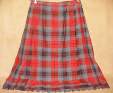Red Gray & Black Plaid Ladies Kilt by Aljean Kilts - Made in Canada - Size 10