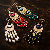 Retro Women Multi-Gemstone Seed Beads Carved Hook Earring Bohemian Drop Earrings