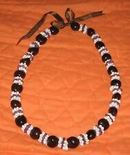 "Vtg Kukui Nut Bead Shell Cluster Lei Hawaiian Necklace ~ Graduation/Wedding 30"""