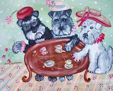 Miniature Schnauzer Tea Party Folk Art Print 11x14 Dog Collectible Artist Ksams
