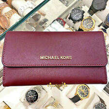 Michael Kors Jet Set Travel Large Trifold Leather Wallet Merlot