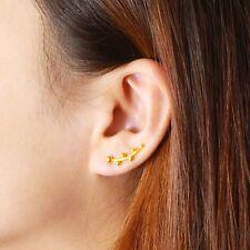Pure 999 24K Yellow Gold Earring / Women Tree Branch Stud Earring/ 3.2g