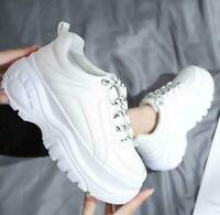 Womens Flats Platform Lace Up Creepers Sport Wedge Heels Casual Sneakers Shoes